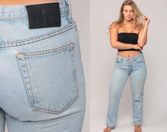 Calvin Klein Jeans Mom Jeans High Waisted Jeans CK 80s Denim Pants Tapered Slim DISTRESSED Blue 90s Vintage Hipster Medium Large 10 12