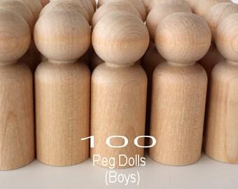 100 Wooden Boy Peg Dolls / 100 Boys / Peg People / Waldorf / Unfinished Maple Ready to Paint