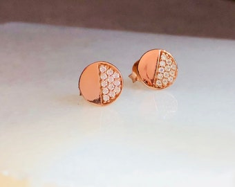 Boho skinny rose gold filled with diamond crystals silver earrings