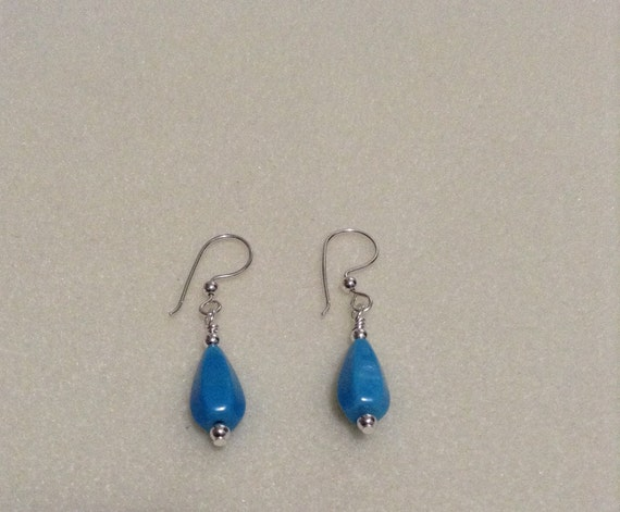 Turquoise Teardrop and Sterling Silver Earrings ESS6151788