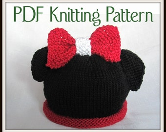 Minnie Mouse Hat pattern, knit, Boston Beanies