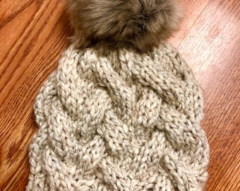 Chunky Hand Knit Oatmeal Cable Hat with XL Faux Fur Pompom
