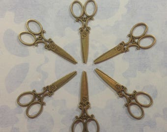 Set of 12 Ornate Seamstress Scissors, steampunk, Victorian outfit charms