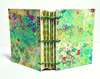 Mini handbound Notebook, Journal - green