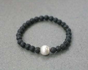 Black Lava Stone Essential Oils Bracelet, Black Bracelet, Staking Bracelet, Beaded Bracelet, Elastic Bracelet, Diffuser, Aromatic Therapy