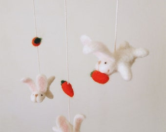 Nursery mobile - felted bunny and carrot mobile - felted bunny mobile - felted rabbit mobile - baby crib mobile - nursery decor