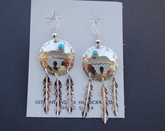 Native American Navajo Sterling Silver Turquoise Bear Earrings