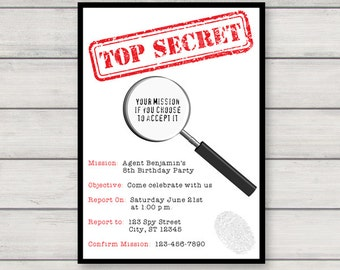 Spy Invitation PRINTABLE Secret Agent Birthday Party Invitation INSTANT DOWNLOAD with Editable Text