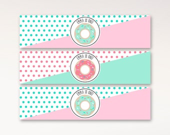 Donut Party Water Bottle Labels