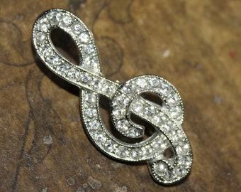 Retro 1960s Treble Clef Music Brooch, Music Pin, Rhinestone Treble Clef, Musical Collectible, Music Themed Jewelry, Groovy Jewelry