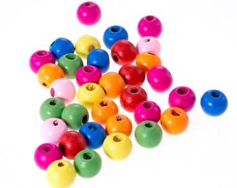 20 wood beads, lustrous 10mm mixed 10 mm bead, jewelry, bracelet