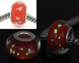 SET of 3 bead spacer Lampwork Glass bright orange styl pandor (w16)