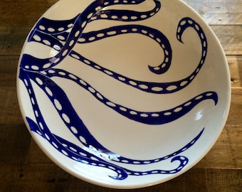 Large serving bowl, centerpiece, blue and white octopus ceramic serving bowl, pottery