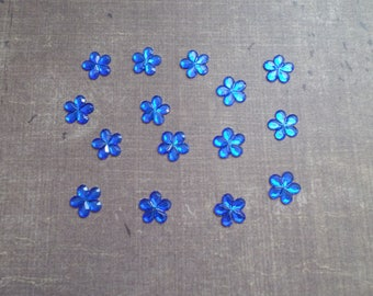 Set of 80 rhinestones form little flowers 9mm night blue