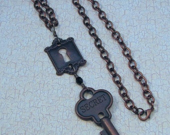 Steampunk Secret Key Pendant on Antiqued Copper Chain, Victorian Key Necklace, Steampunk Key Necklace, Steampunk Accessory, Copper Key