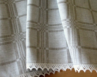 """Linen Tablecloth Checked Natural White Gray Linen Lace 59""""x59"""""""