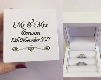 Personalised white double ring box, Engraved wedding ring box, Personalized double ring box