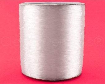 1100 Yds - 1mm Crystal Clear Beading Thread - Premium Stretch Cording - 1000 Meters / 1100 Yards - Bulk Spool - For Beading Jewelry