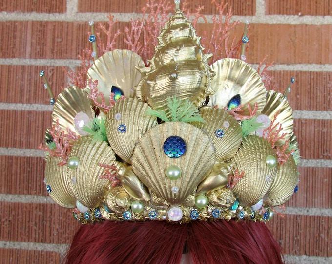 Gold Mermaid Crown, Mermaid Crown, Mermaid Headband, Mermaid Headdress, Shell Crown, Mermaid Costume, Cosplay, Mermaid Tiara, Seashell Tiara