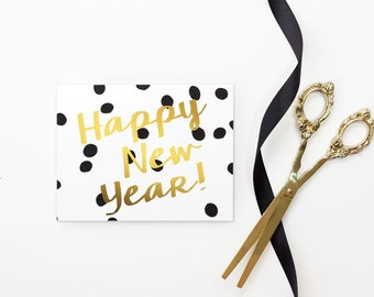 New Years Card 2018 Happy New Years Cards Personalized Black and White Polka Dot Christmas Card Faux Gold Foil New Year Card Holiday Cards