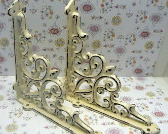 Wall Bracket Cast Iron Shelf Ornate FDL Brace Cottage Shabby Elegance Cream Off White 5 5/8 x 5 5/8 Decor 1 Pair (2 individual brackets)