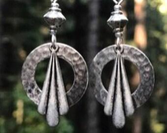 Silver Art Deco earrings, hammered metal, lightweight, antique silver, handmade, original design