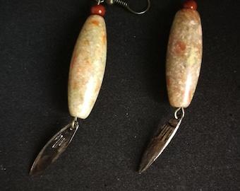Earrings drops marbled