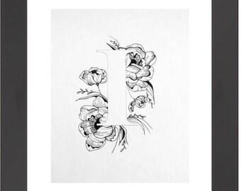 Illustrated 'I' initial print