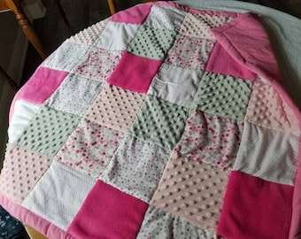minky and flannel quilted baby blanket