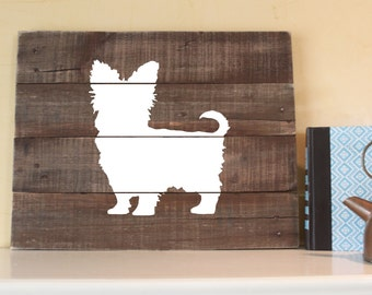 Yorkie Silhouette, Reclaimed Wood Sign, Yorkie Sign, Yorkie Artwork, Rustic Yorkie Sign, Wooden Yorkie, Yorkshire Terrier, Yorkie Wall Art,