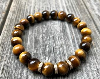 Tigers Eye Bracelet, Tigers Eye Jewelry, Healing Crystals, Mala Bracelet, Tigers Eye, Yoga Jewelry, Chakra Balancing Jewelry, Wrist Mala