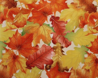 Harvest Bounty by Nicole Tamarin for Quilting Treasures A116 Autumn Leaves Sold by the Half Yard