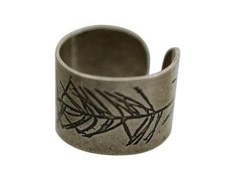 Fir branch ring, fir branch ring Cuff, evergreen ring, nature ring, fir tree,  tree jewelry, fir tree jewelry, mountain jewelry,  adjustable