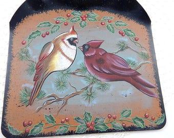 Vintage Hand Painted Birds, Cardinals, mistletoe, winter wall art