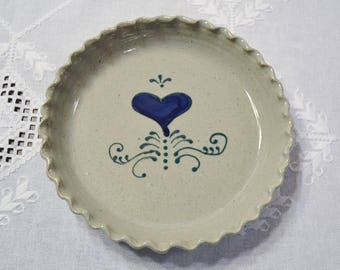Vintage Great Bay Pottery Pie Plate Deep Dish Fluted Salt Glaze Blue Green Heart New Hampshire Handmade PanchosPorch
