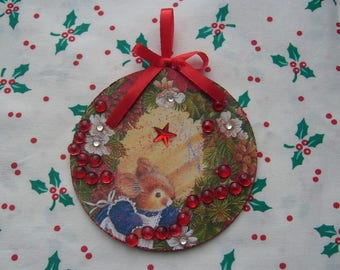 A retro hanging Christmas decoration handmade - decor recto - verso: little mice - satin ribbon