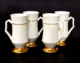 Turkish Coffee/Espresso Cups, Set of 4, White with Gold Detailing and Raised Dotted Pattern