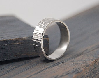 Mens Tree Bark Wedding Band. Mens Tree Bark Wedding Ring. Silver Wedding band Ring Tree Bark Textured