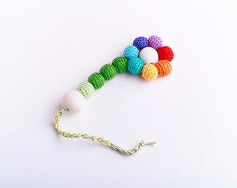 Wood teether crochet-Organic Baby Teething  toy- ECO-Friendly baby teether- Wooden development toy