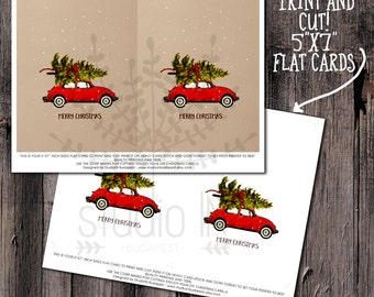 CHRISTMAS CARD PRINTABLE - Red car christmas card, Christmas Cards, holiday card, Red Christmas Car, xmas card, pine tree card
