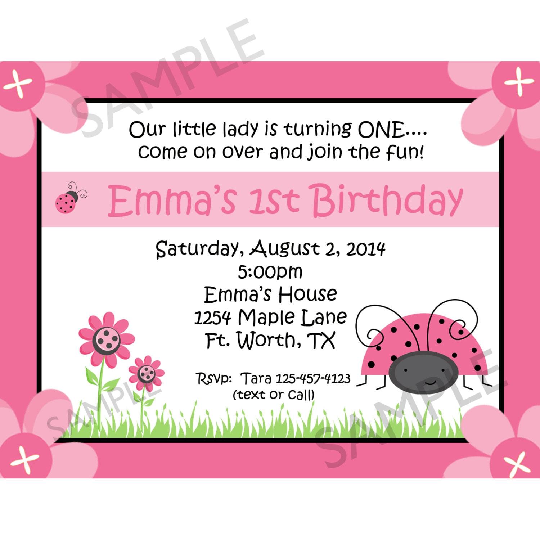20 Personalized Birthday Invitations Ladybug Birthday