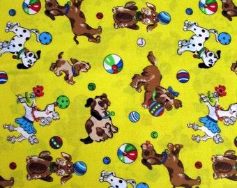 Per Yard, Dogs Playing Ball Fabric