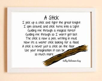 Stick Rhyme, Imagination Rhyme, Children's Imagination, Children's Bedroom Decor, Nursery Decor, Children's Print, KRK Prints, fiver friday