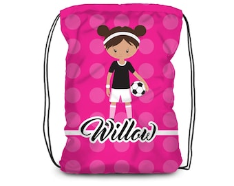 Personalized Soccer Drawstring Backpack - Girls Sports Cinch Sack, Hot Pink Dots, Soccer Backpack, You Pick Girl - Kids Personalized Gift