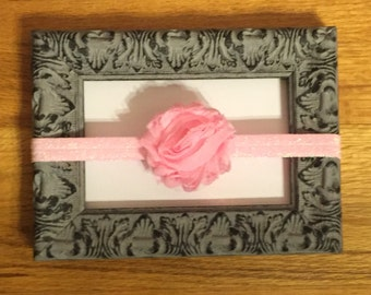 SALE: Pink Baby Headband, light pink glitter elastic with pink fabric flower, babygirl headband