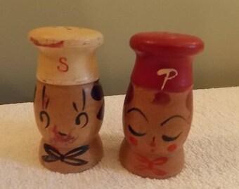 """Vintage Campbell's Soup  wooden salt and Pepper set 2"""""""