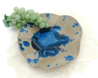 Small Ceramic Crystalline Glazed Free Form Blue Plate, Trinket Holder, Unique Decorative Serving Dish