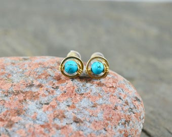 Tiny Turquoise studs wire wrapped post 14k Gold Rose Gold Filled Sterling Silver handmade spiral December birthstone gemstone stud earrings