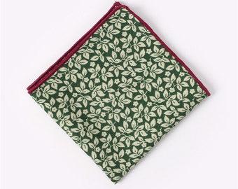 Green Floral Pocket Square  | cotton handkerchief |  gift for groom | mens handkerchief | mens pocket square | wedding accessories