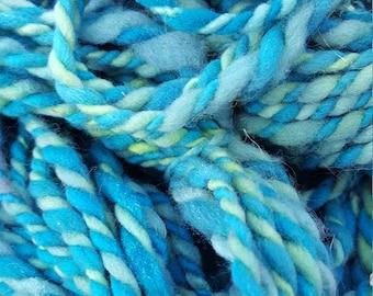 2 Ply Thick and Thin Handspun Yarn LADY LIBERTY Merino wool, blue, green, teal, soft, squishy, bulky, childhood, hand dyed, slub, stripe
